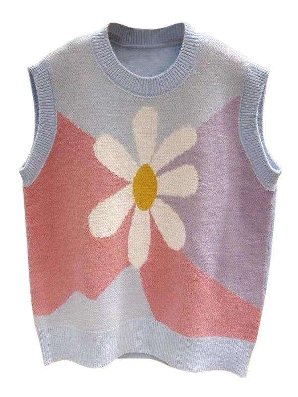 Floral Knit Sweater Vest - Blue ONE SIZE