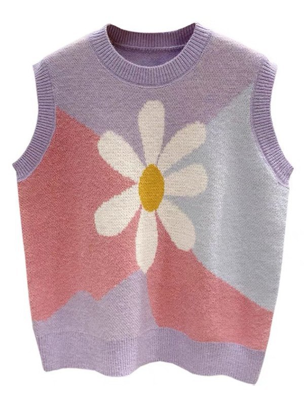 Floral Knit Sweater Vest - Lilac ONE SIZE