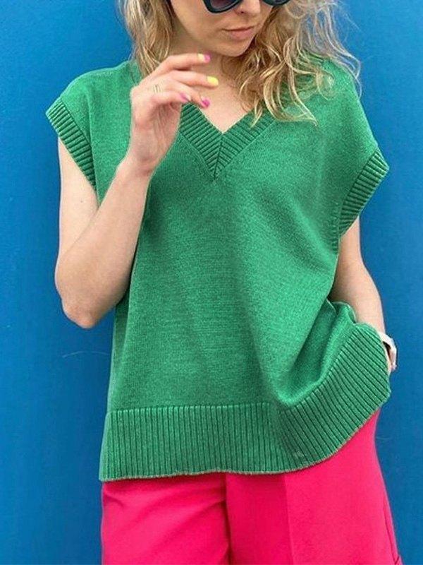 V Neck Solid Sweater Vest - Green M