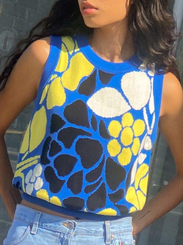 Floral Jacquard Crop Sweater Vest - Blue L
