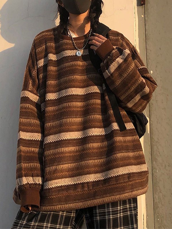 Striped Pullover Knit Sweater - Brown XL