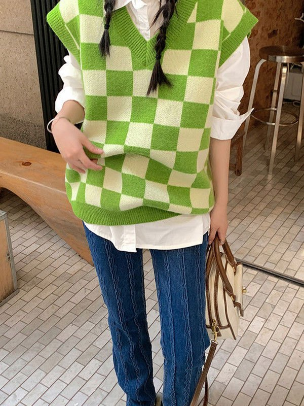 Checkered Pattern Knit Sweater Vest - Green ONE SIZE