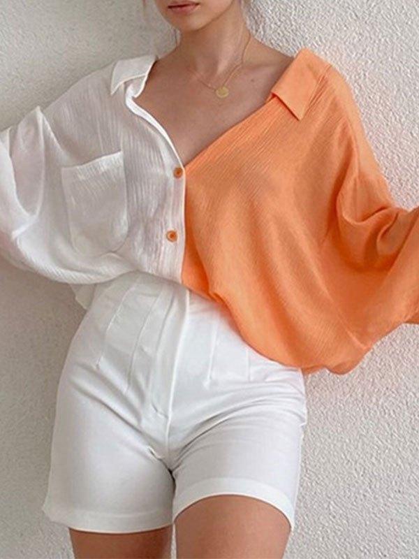 Patchwork Long Sleeve Longline Blouse - Orange M