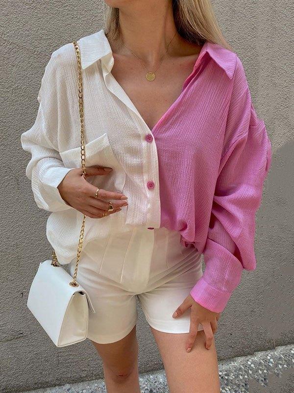 Patchwork Long Sleeve Longline Blouse - Pink M