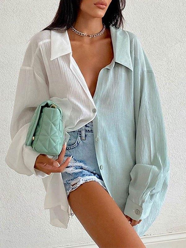 Patchwork Long Sleeve Longline Blouse - Blue S
