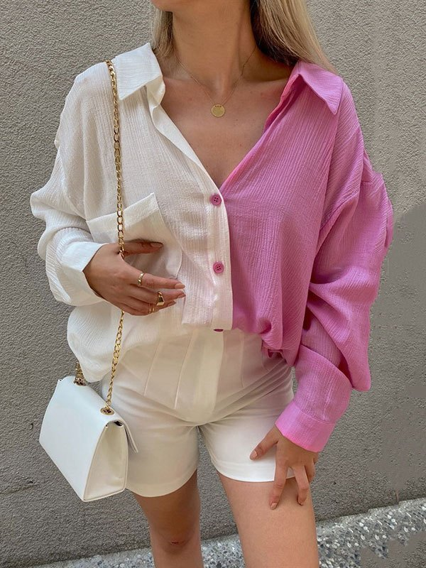 Patchwork Long Sleeve Longline Blouse - Pink L