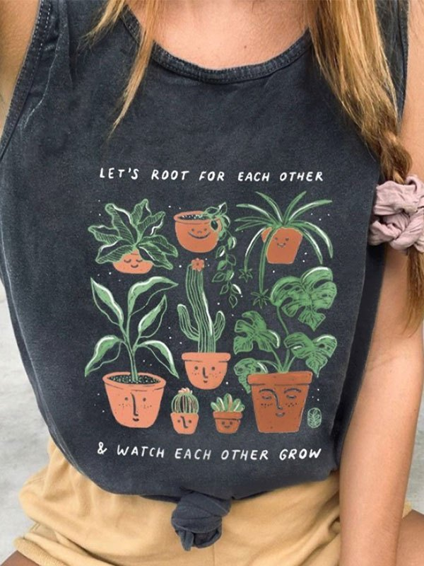 Plant Root Printed Tank Top - Dark Grey L