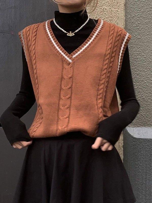 V Neck Cable Knit Sweater Vest - Brown M