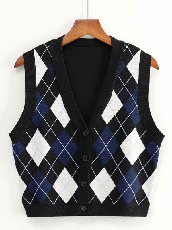 Argyle Buttoned Crop Sweater Vest - Black M
