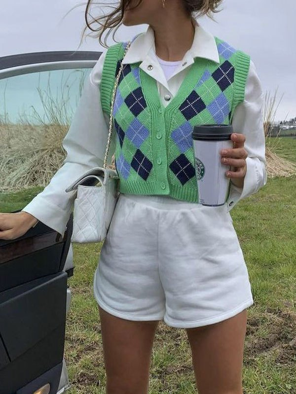 Argyle Buttoned Crop Sweater Vest - Green S