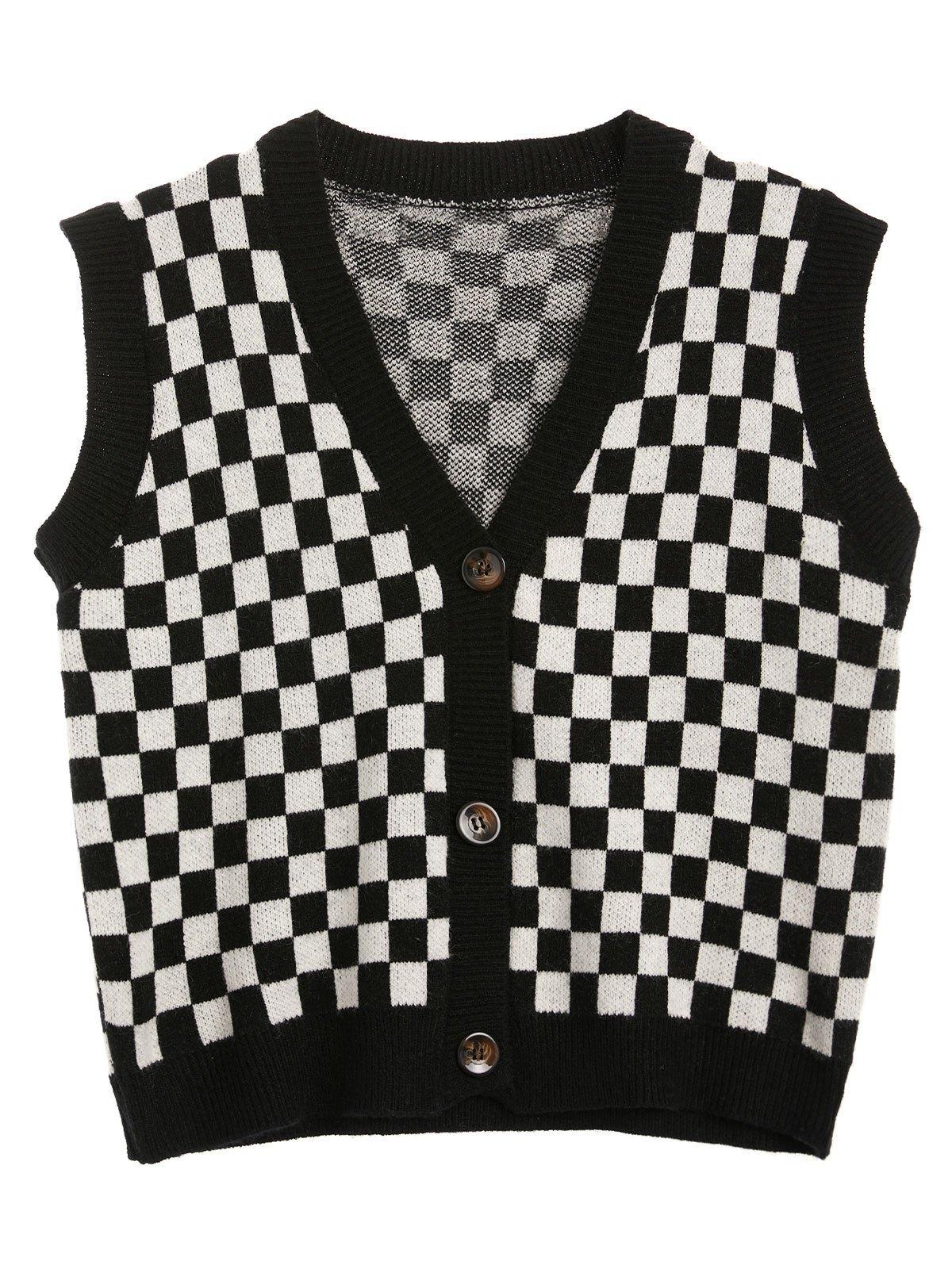 Checkerboard Print Sweater Vest - Mixcolor S