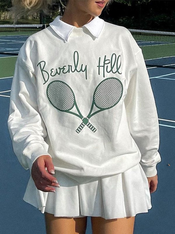 Tennis Racket Print Sweatshirt - White S