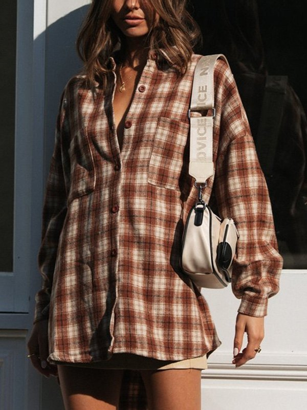 Checkered Long Sleeve Oversized Blouse - As The Picture L