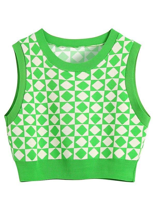 Checkered Crop Sweater Vest - Green L