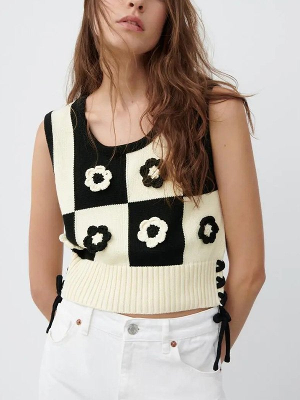 Lace Up Floral Crop Sweater Vest - As The Picture S