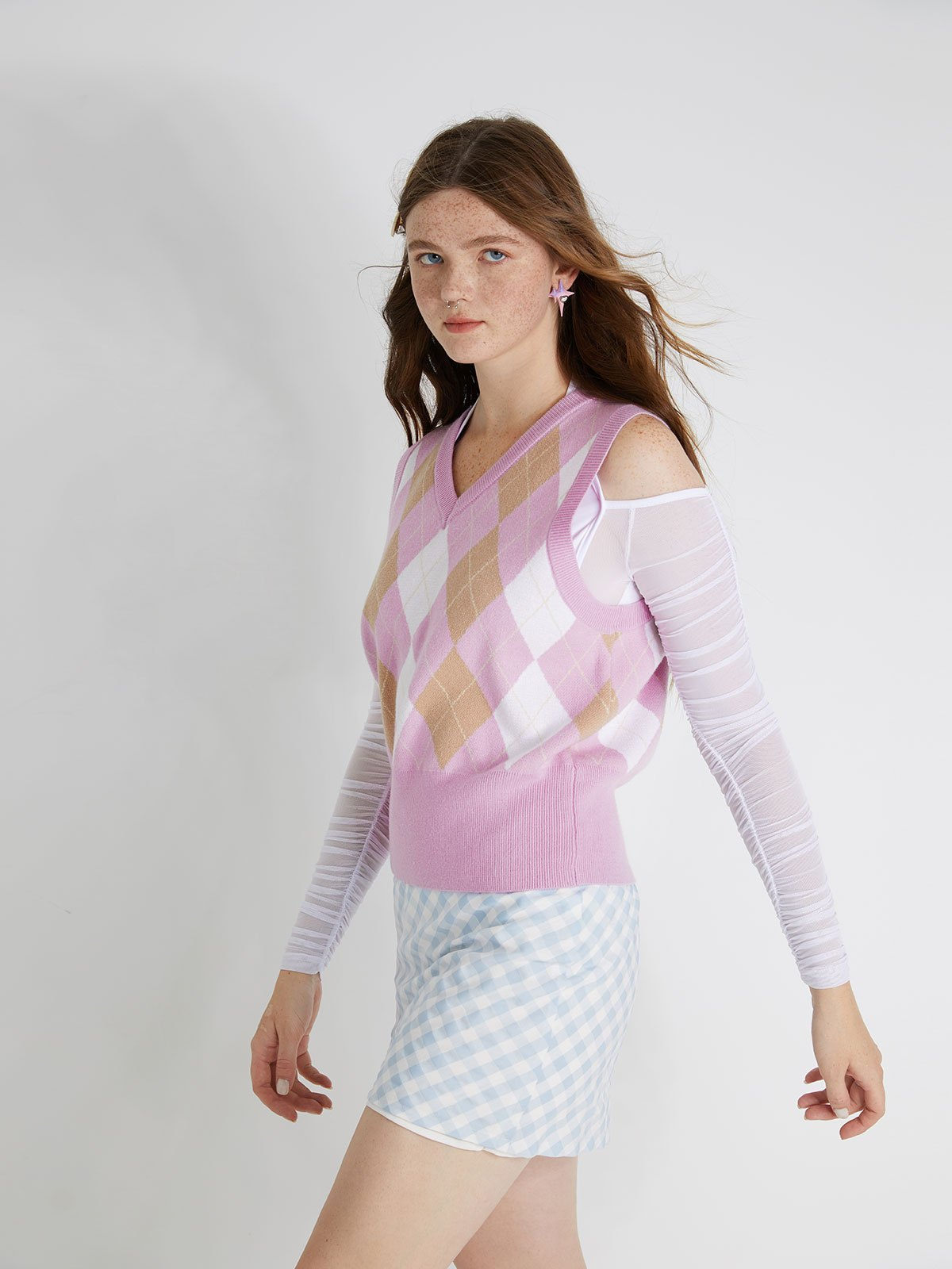 V Neck Argyle Knit Sweater Vest - Purple ONE SIZE
