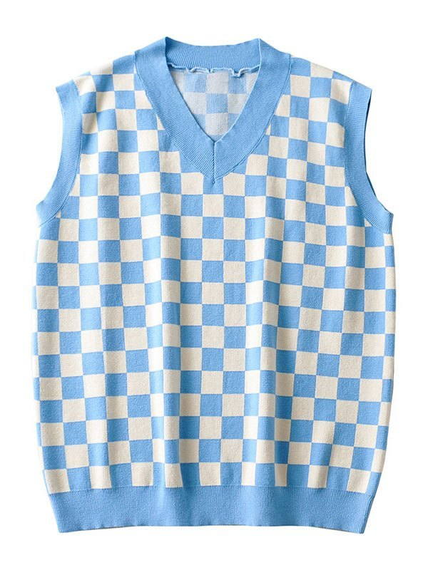 Checkered Pullover Knit Sweater Vest - Blue M