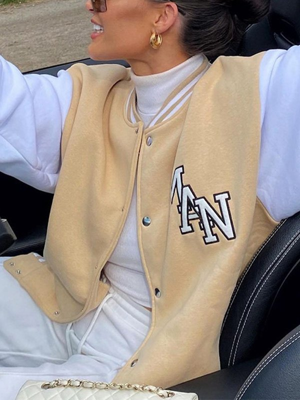 Letter Embroidery Varsity Jacket - As The Picture S