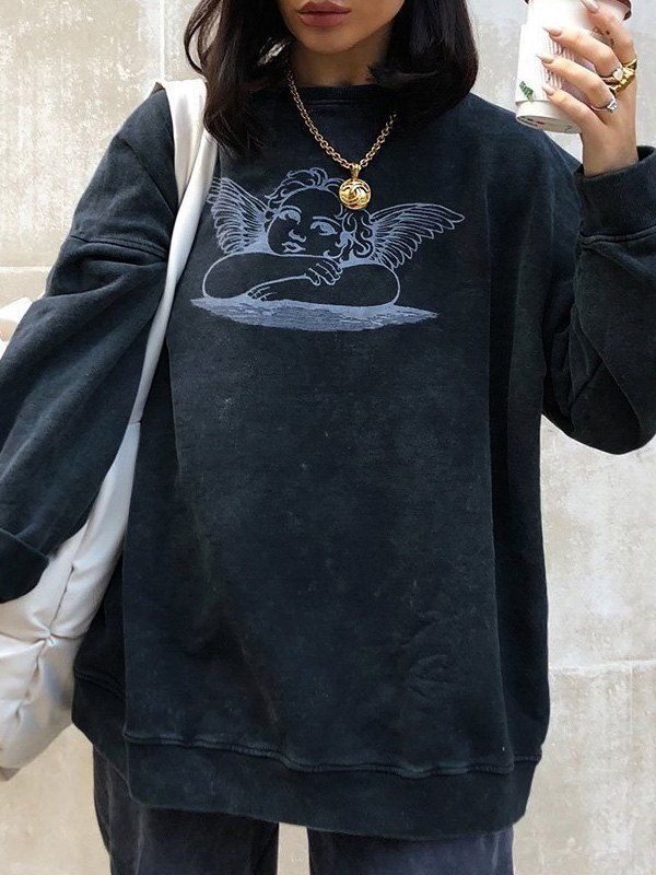 Cherub Print Oversized Sweatshirt - Black S