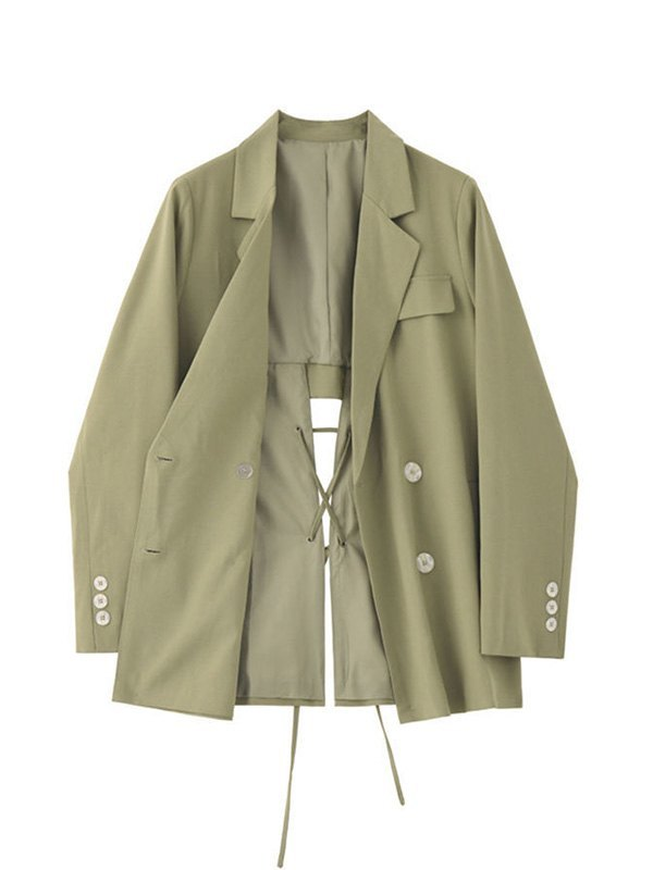 Cutout Lace Up Blazer - Green XL