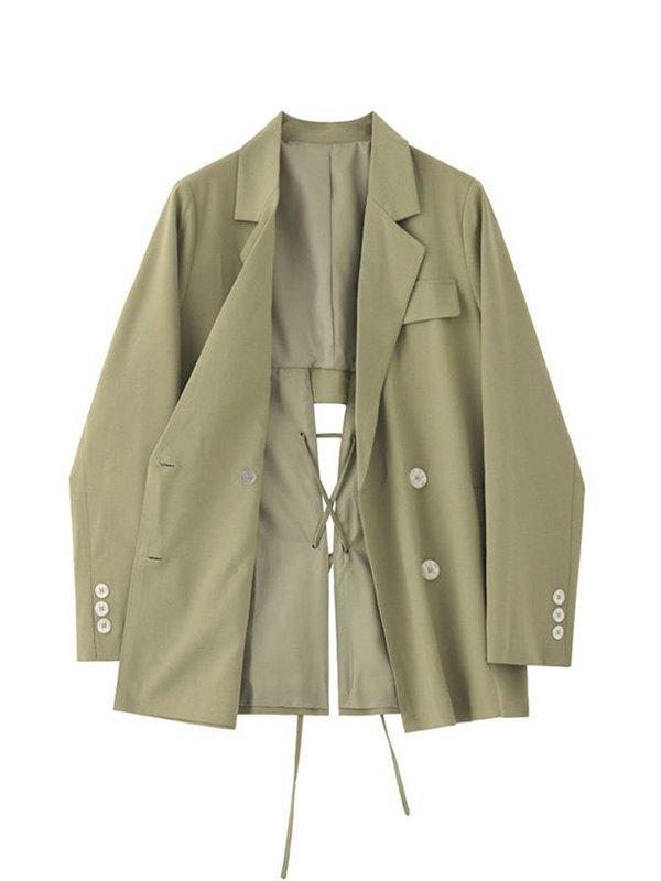 Cutout Lace Up Blazer - Green M