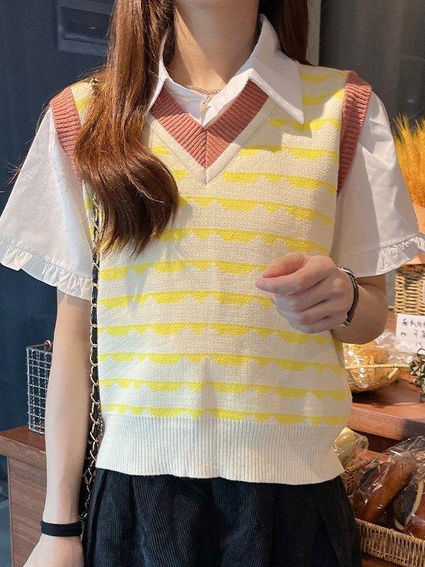 V Neck Jacquard Sweater Vest - Yellow ONE SIZE