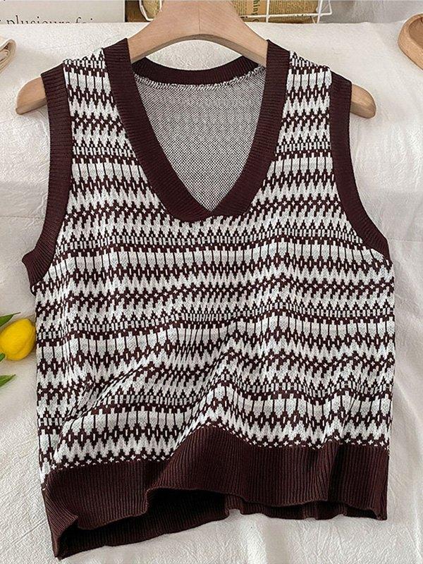 V Neck Jacquard Knit Sweater Vest - Coffee ONE SIZE