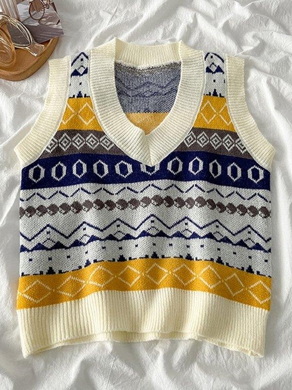 V Neck Geometric Sweater Vest - Apricot ONE SIZE
