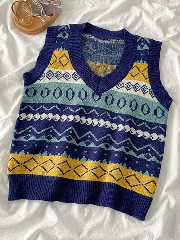 V Neck Geometric Sweater Vest - Blue ONE SIZE