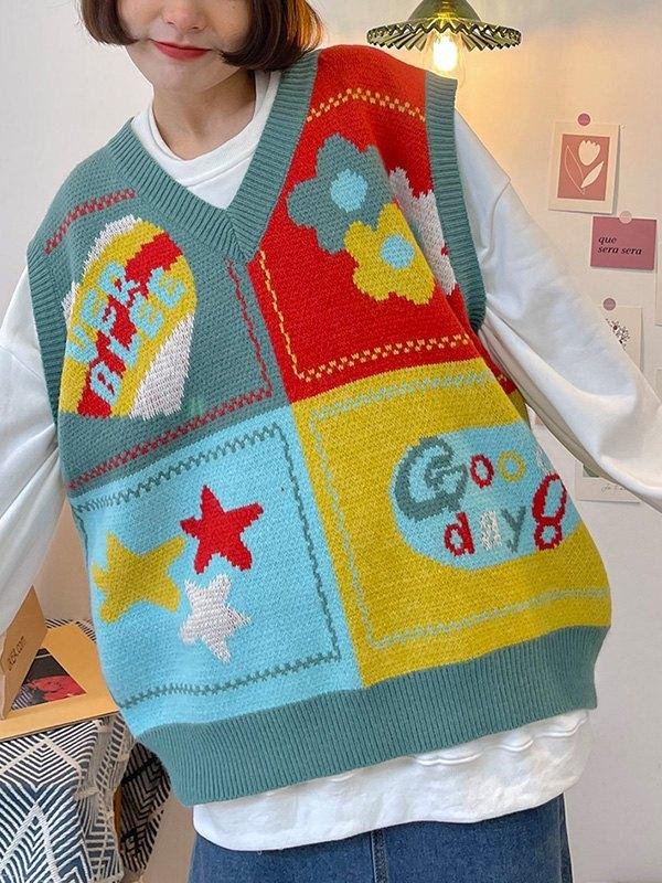 Patchwork Jacquard Sweater Vest - Blue ONE SIZE