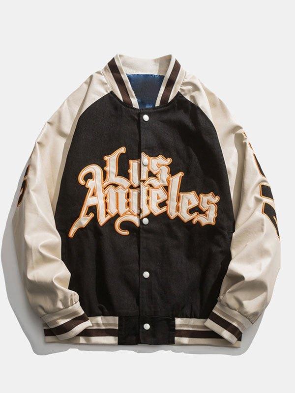 Oversized Pu Leather Paneled Varsity Jacket - Black L