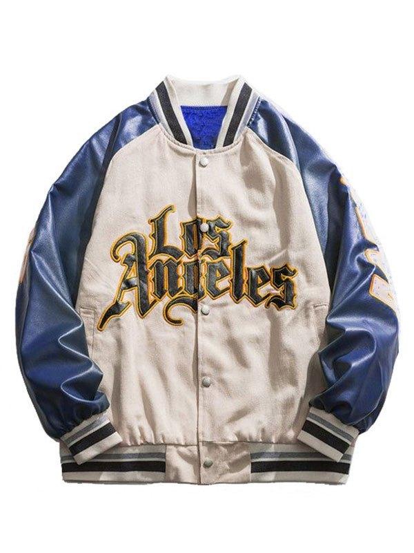 Oversized Pu Leather Paneled Varsity Jacket - White L