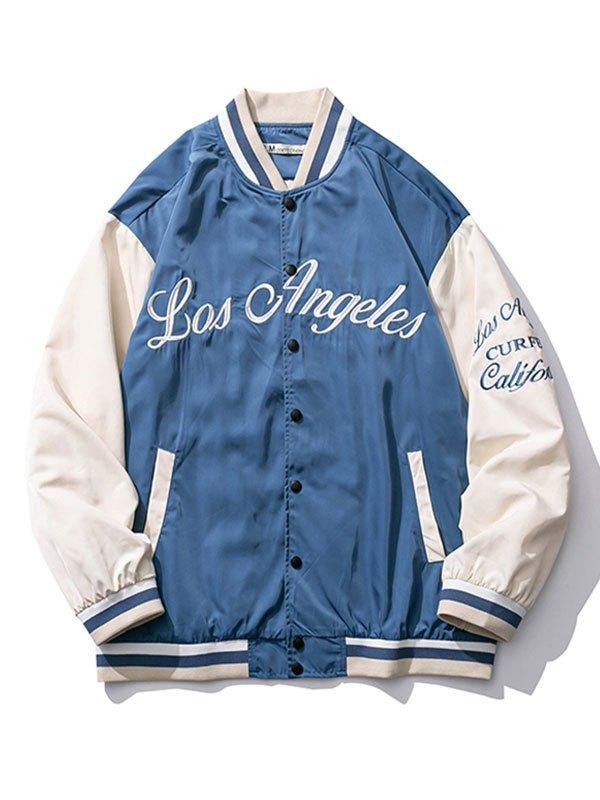 Embroidery Oversized Varsity Jacket - Blue L