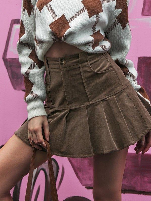 Cotton Pleated Mini Skirt - Brown L