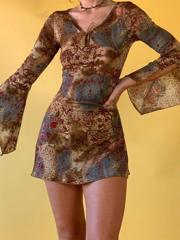 V Neck Split Long Sleeve Mini Dress - Brown L