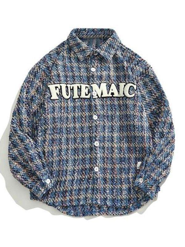 Oversized Embroidery Tweed Jacket - Blue 2XL