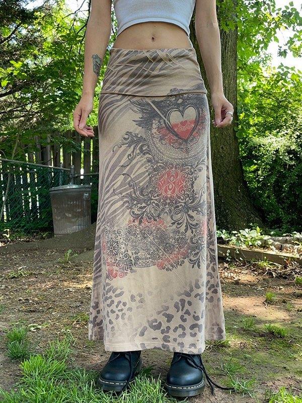 Mixed Print Midi Skirt - Brown L