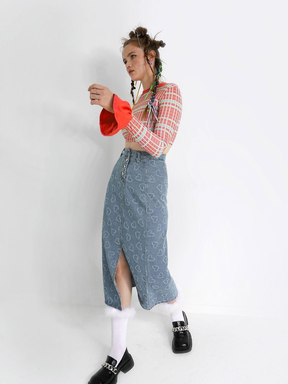 Heart Jacquard Split Denim Midi Skirt - Blue M