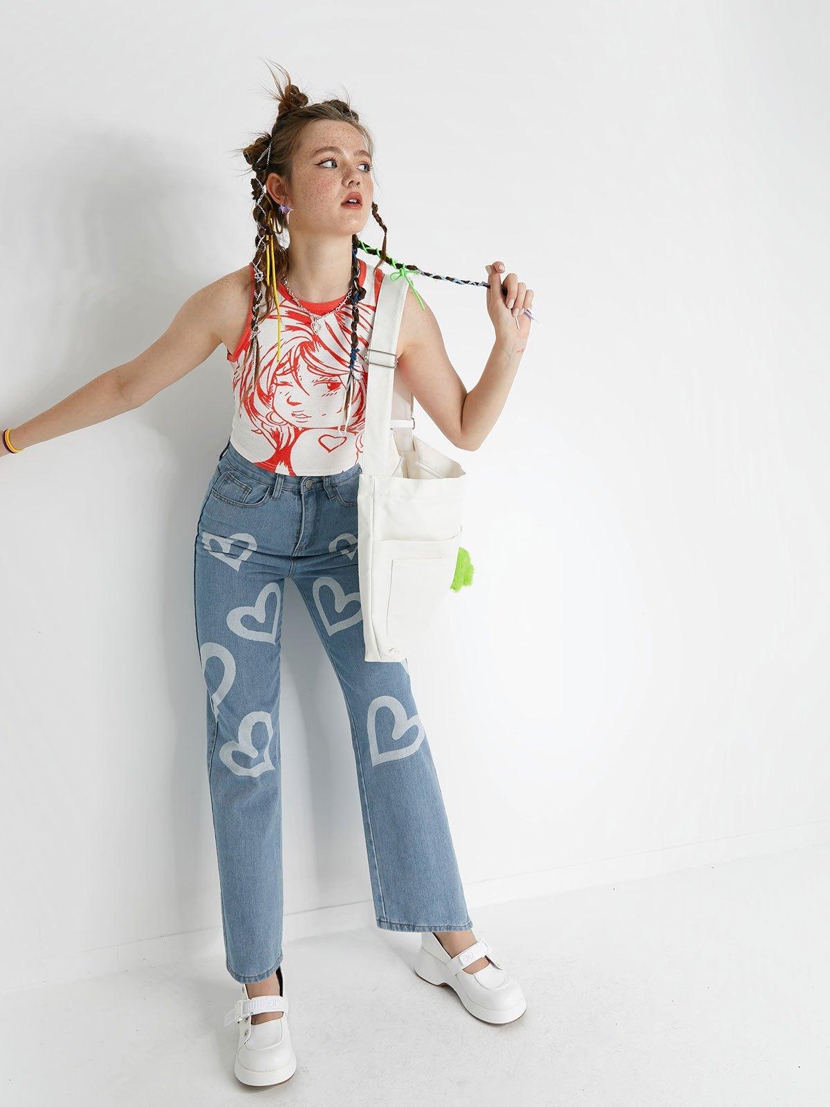 Heart Pattern High Waist Boyfriend Jeans - Blue XL
