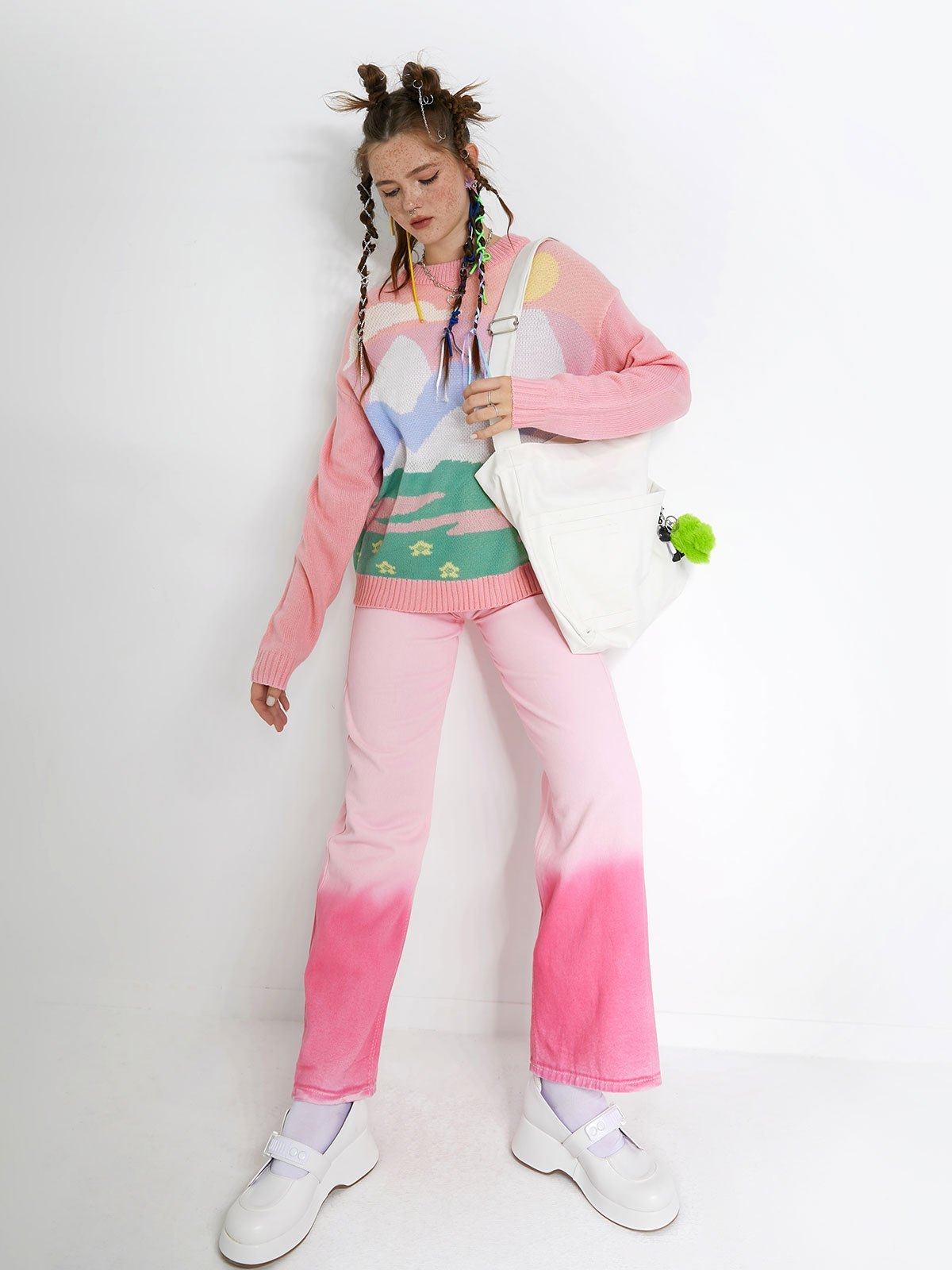 Washed Gradient Boyfriend Jeans - Pink L