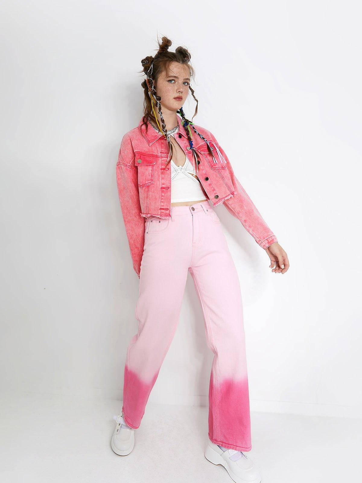 Distressed Crop Denim Jacket - Pink L