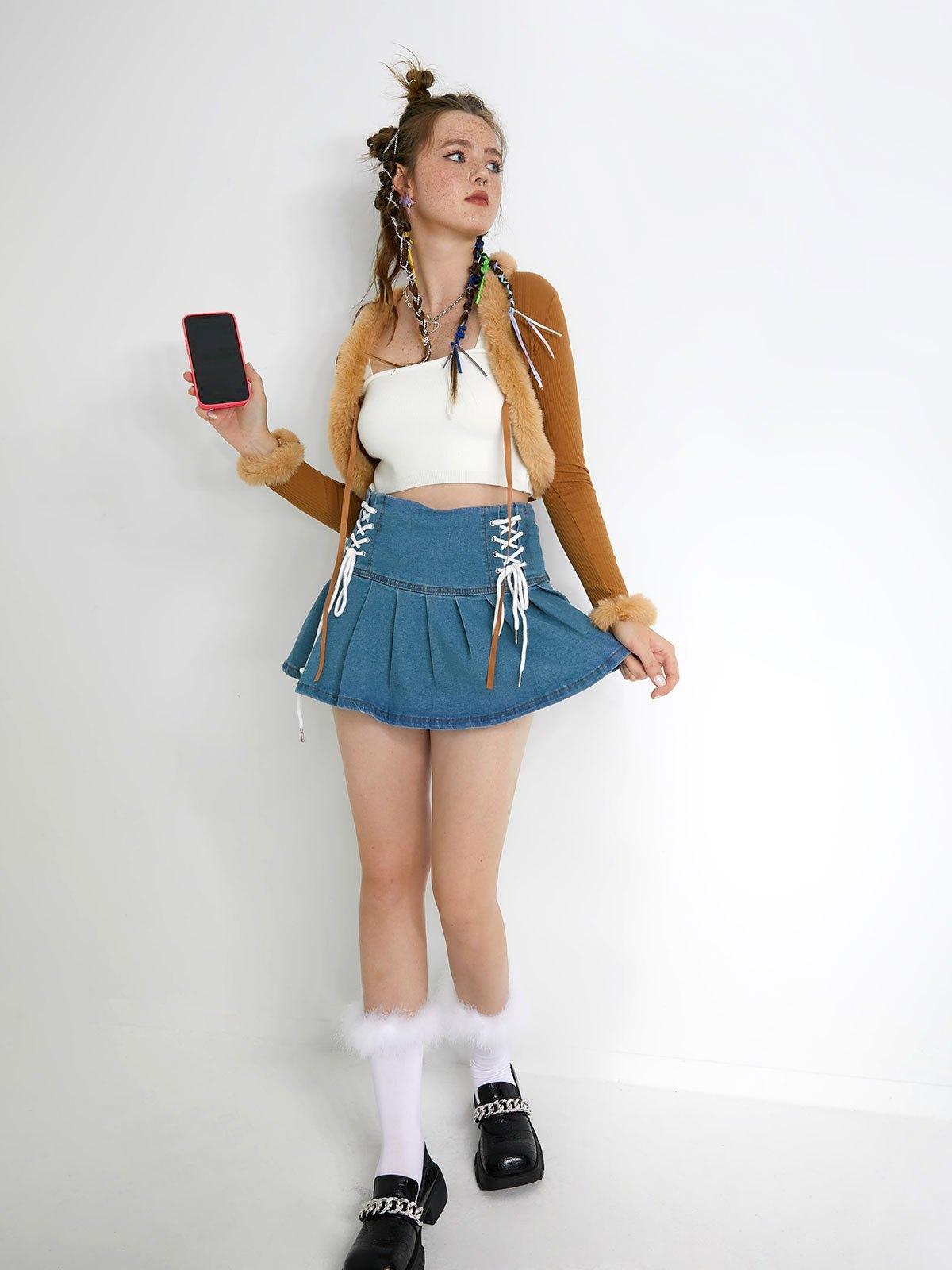 Lace Up Ruffle Denim Mini Skirt - Blue L