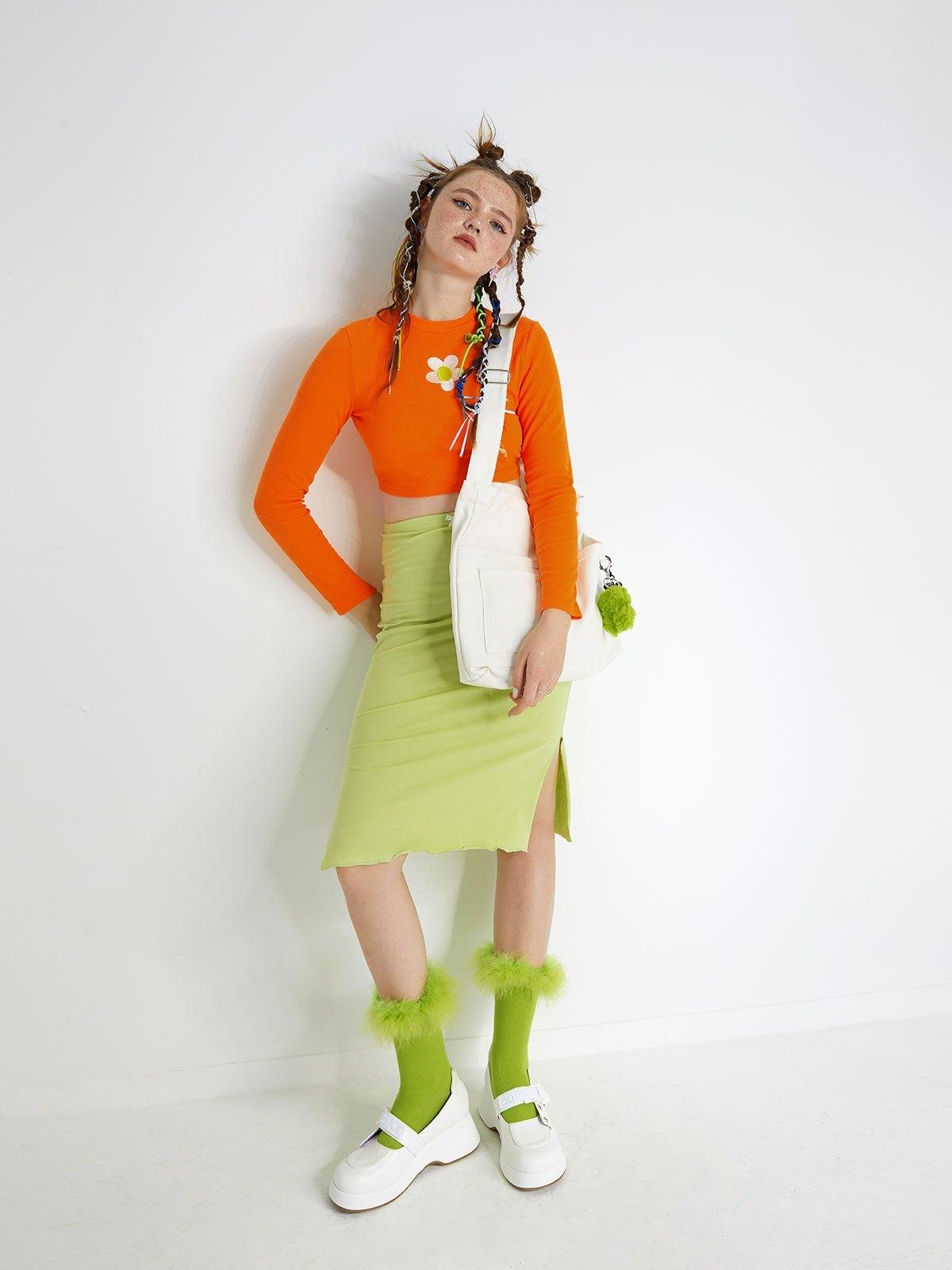 Pure Color Slit Midi Skirt - Green S