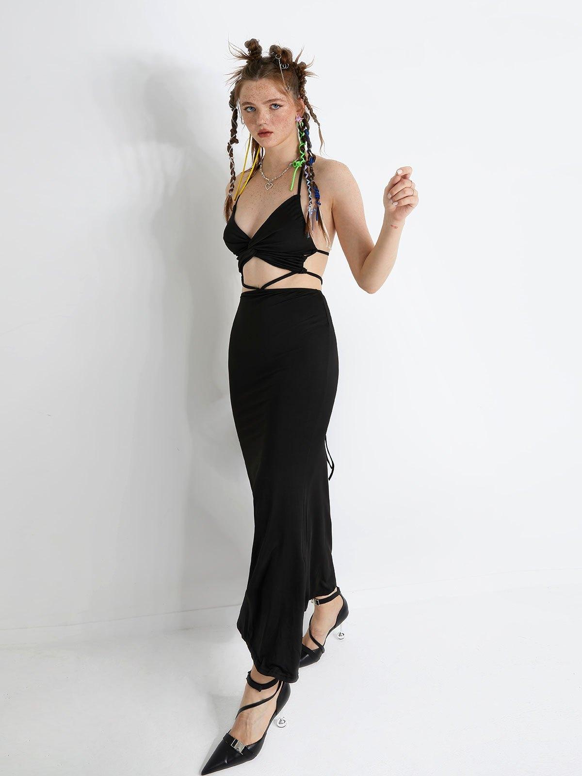 Criss Cross Cutout Halter Maxi Dress - Black S