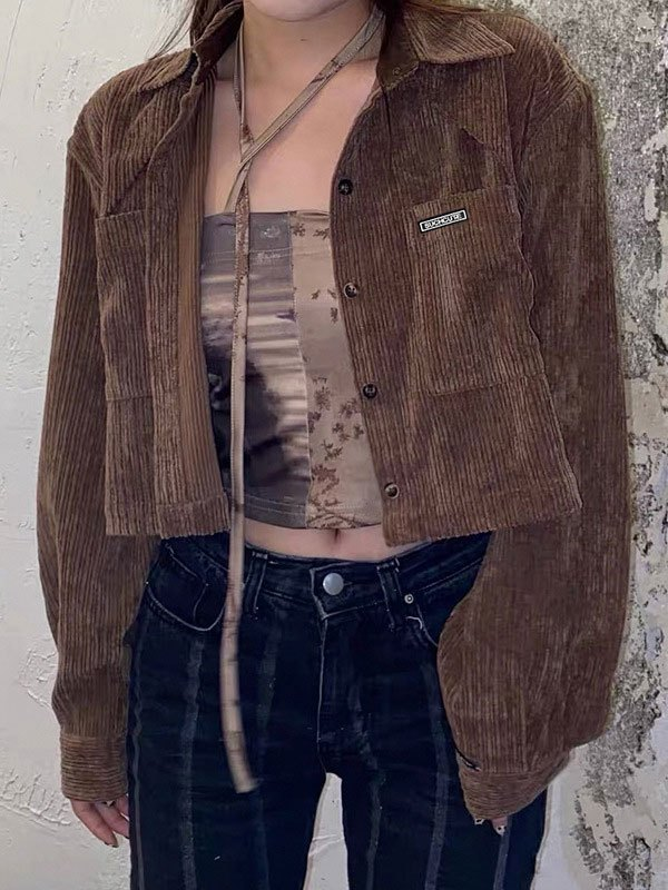 Patchwork Cropped Corduroy Jacket - Brown S