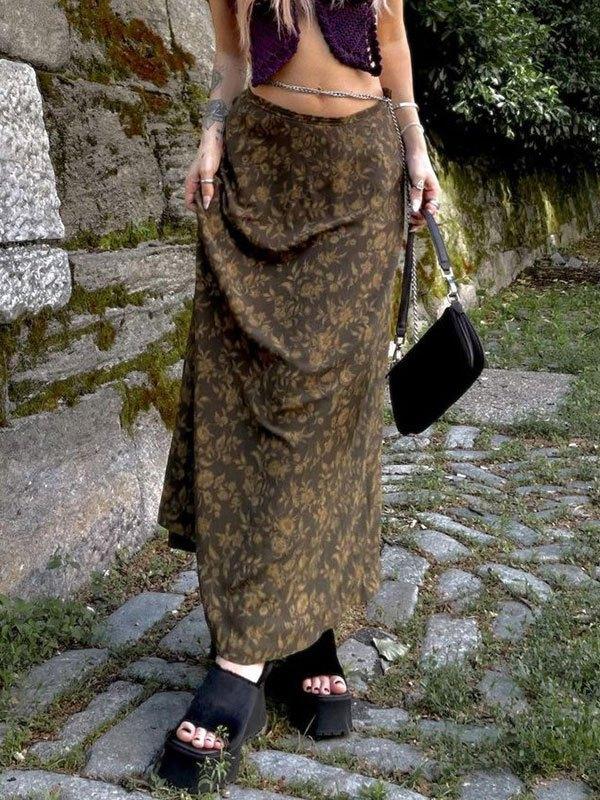 Vintage Floral Print Midi Skirt - Brown L