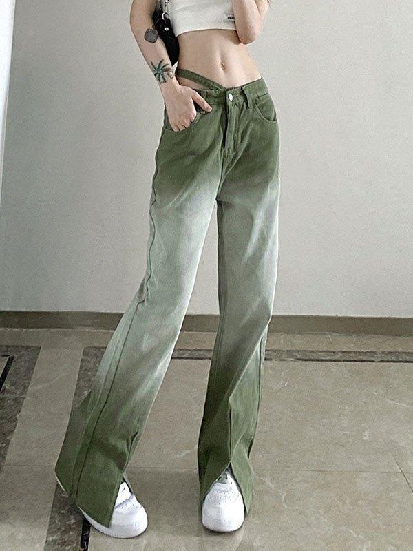 Ombre Split Boyfriend Jeans - Green M
