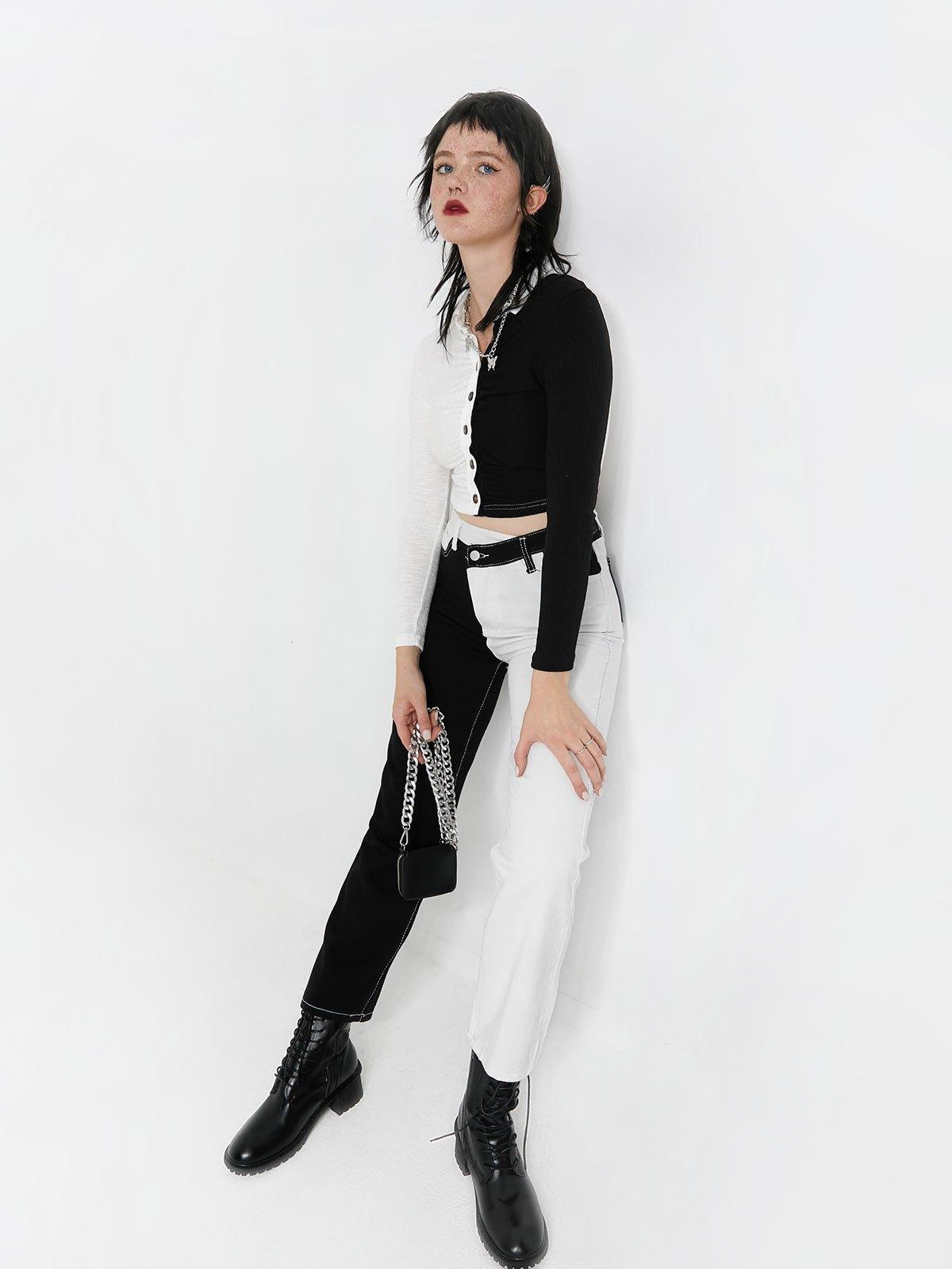 Cross Over Patchwork Boyfriend Jeans - Black L