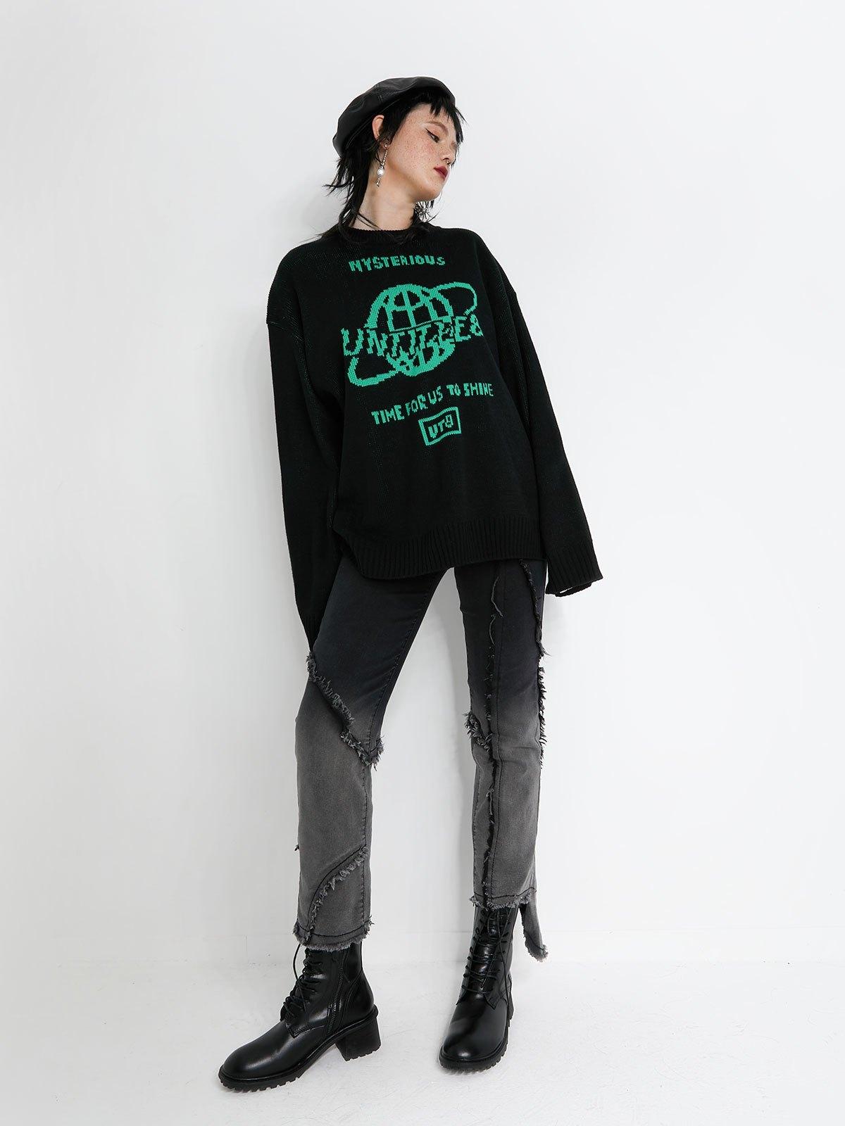 Frayed Trim Ombre Boyfriend Jeans - Black L