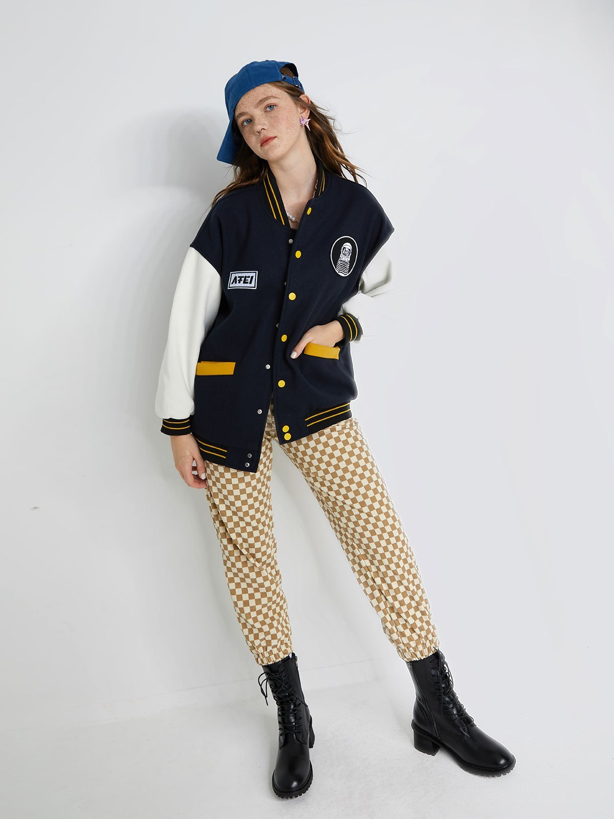 Oversized Embroidery Varsity Jacket Jacket - Blue M
